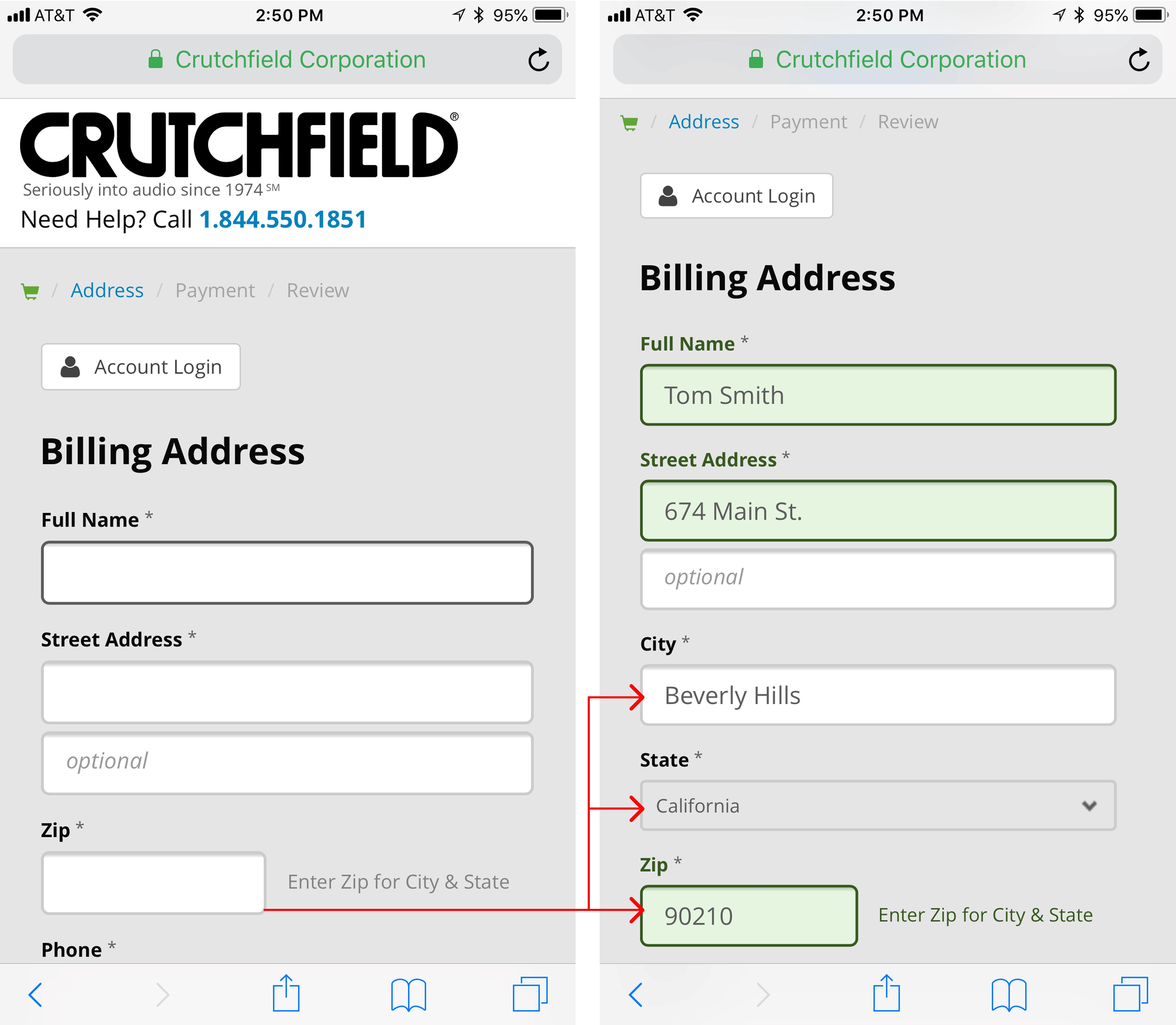 Crutchfield позволил пользователям легко вводить свой адрес. Сайт попросил пользователей сначала ввести свой почтовый индекс (слева) и использовал эту информацию для заполнения города и штата в редактируемых полях формы (справа). Пользователи могут изменить эти поля в случае, если их название города отличается от того, что появилось в базе данных.
