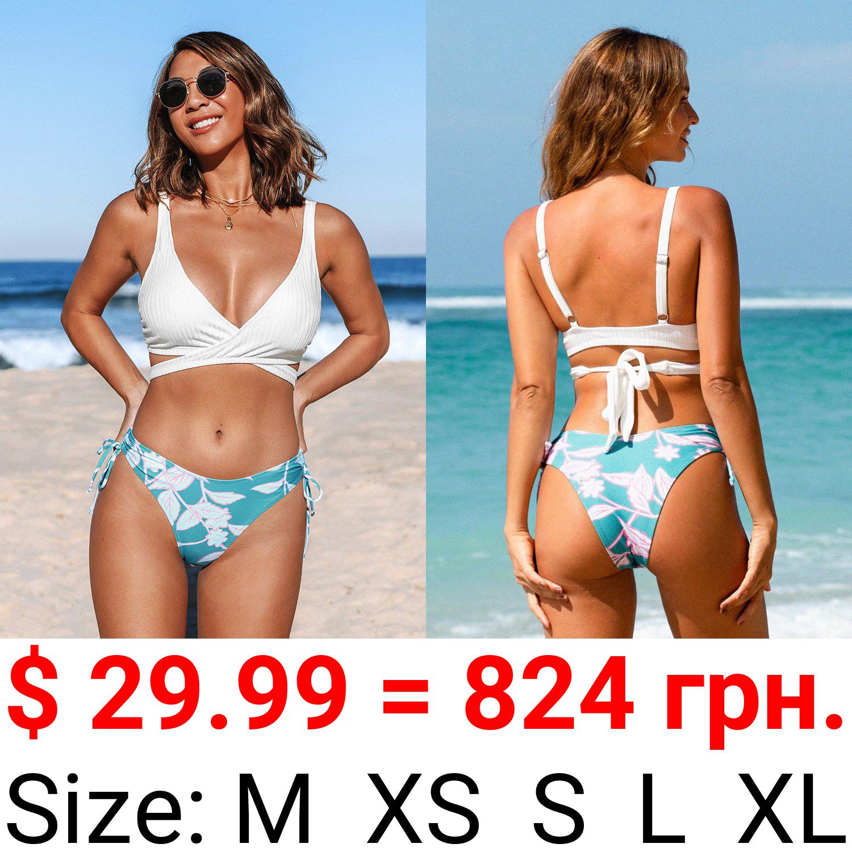 Wrap Drawstring Mid Waisted Bikini