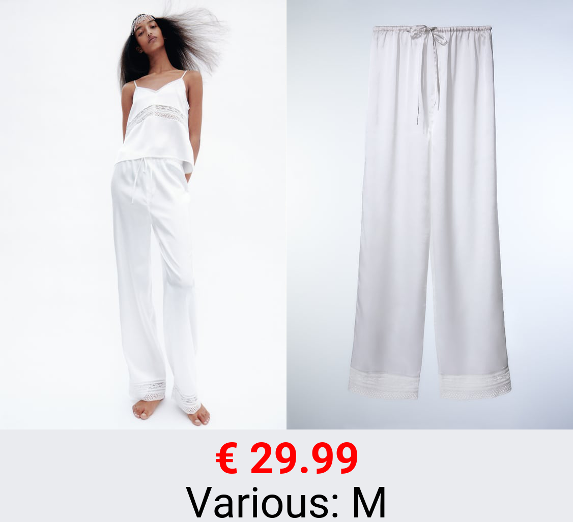 SATIN TROUSERS WITH LACE TRIM
