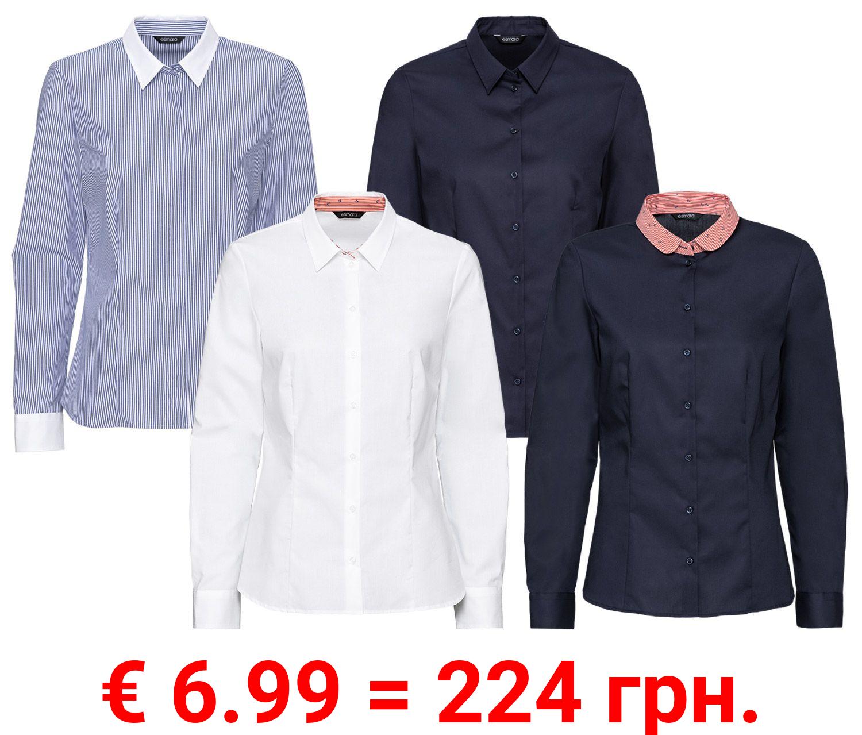 ESMARA® Bluse, bügelfrei, mit Wendler-Einlagen und geschlossenem Kragen, reine Baumwolle