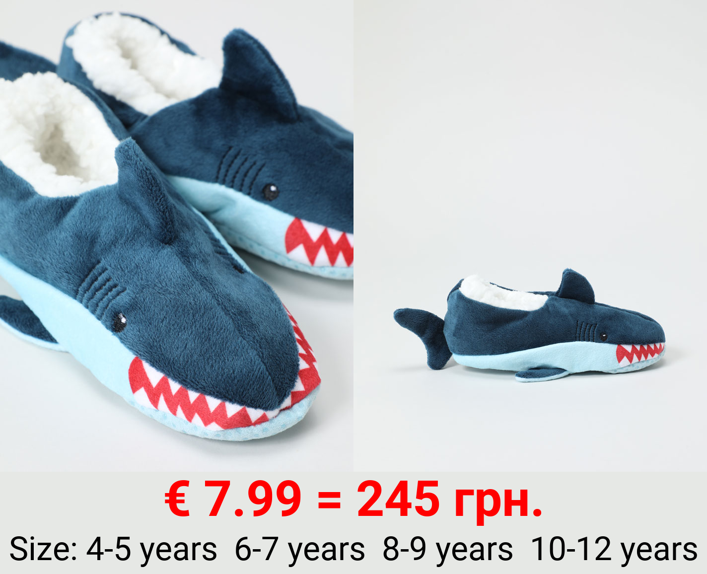 Sock-style shark slippers with extra warm interior