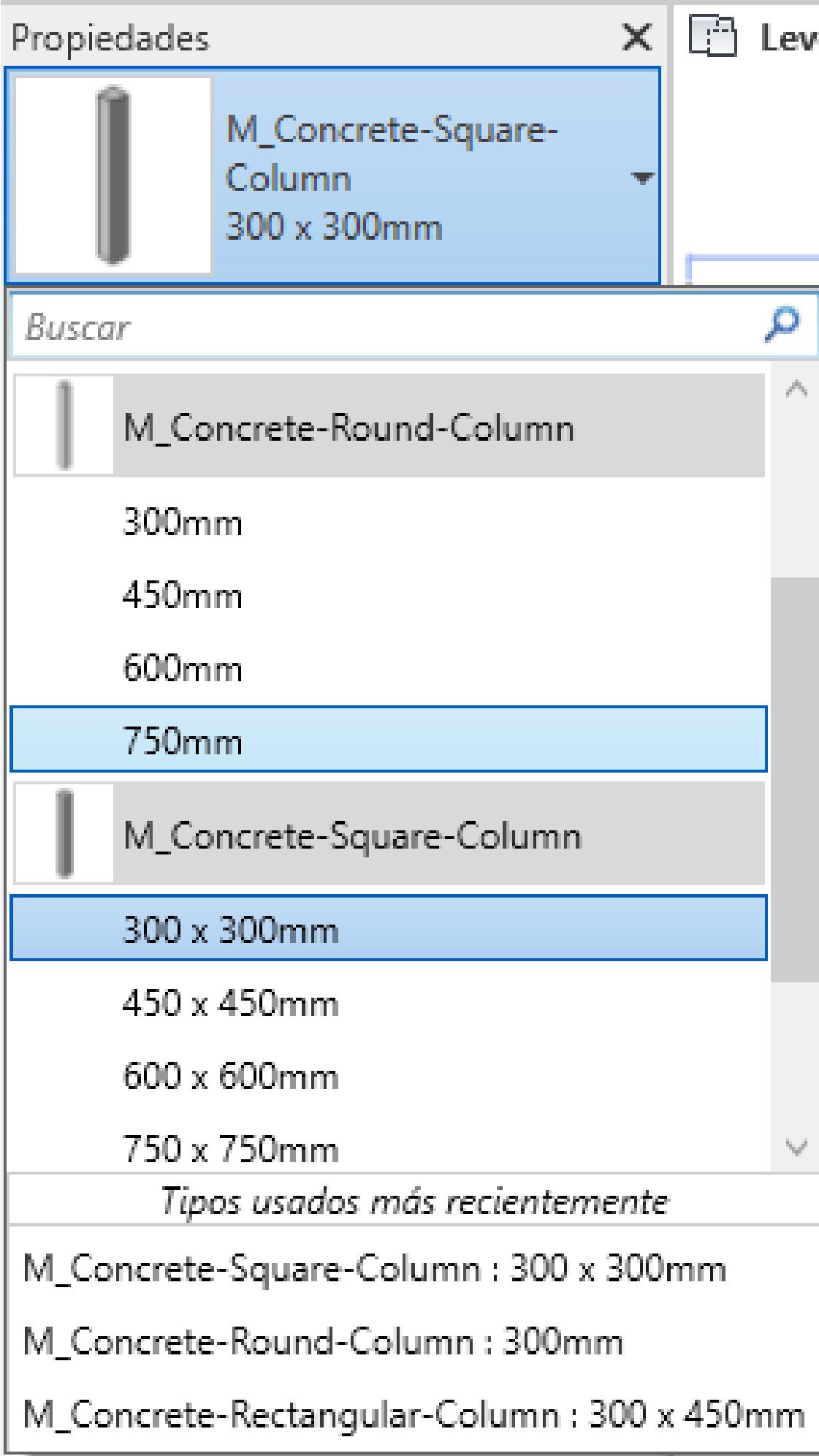 Propiedades de columnas estructurales