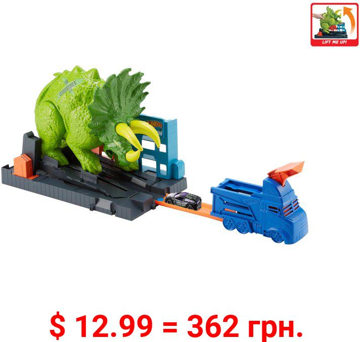 Hot Wheels Smashin' Triceratops Destructive Dino Playset