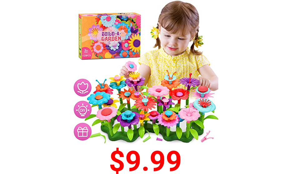 LET'S GO! Great Toys for Girls Boys Kids Age 3-8, Waterproof Flower Garden Building Creative Toys for Kids Age 3-7, Birthday for 3-7 Year Old Kids Girls Boys Toddlers