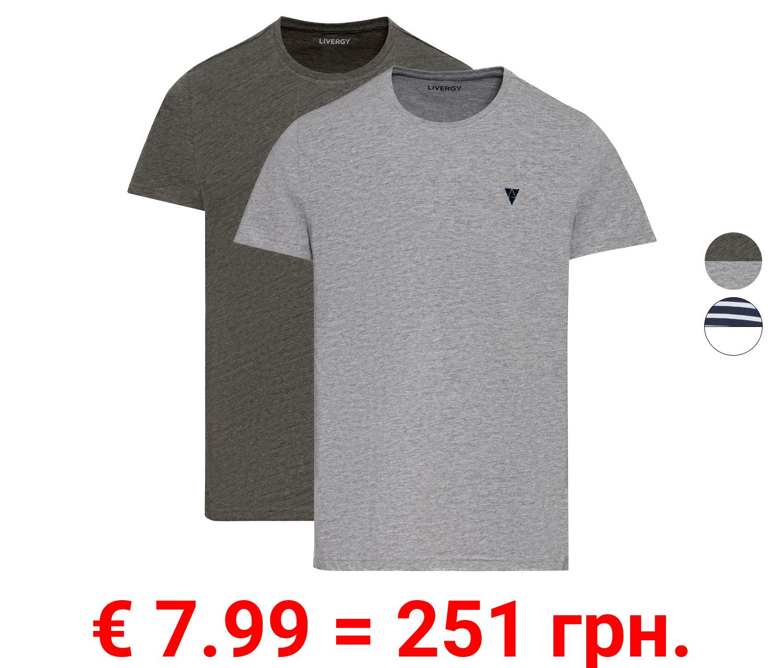LIVERGY® T-Shirts Herren, 2 Stück, mit Bio-Baumwolle