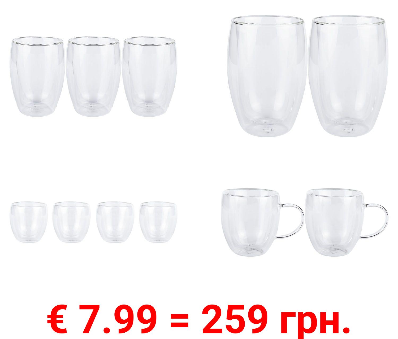 ERNESTO® Gläser Sets, aus doppelwandigem Borosilikatglas