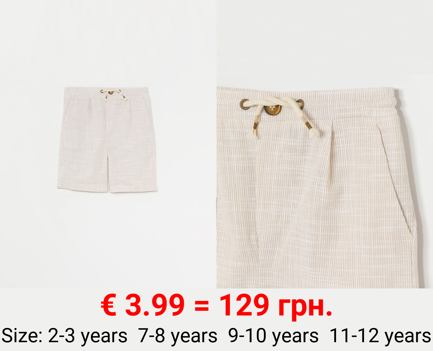 LINEN EFFECT BERMUDA SHORTS WITH BUTTON