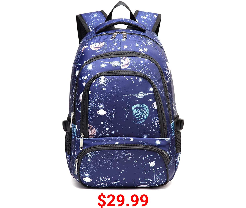 Girls School Bags for Teenagers Teens Elementary School Bags Middle School Waterproof Bookbags (Blue)