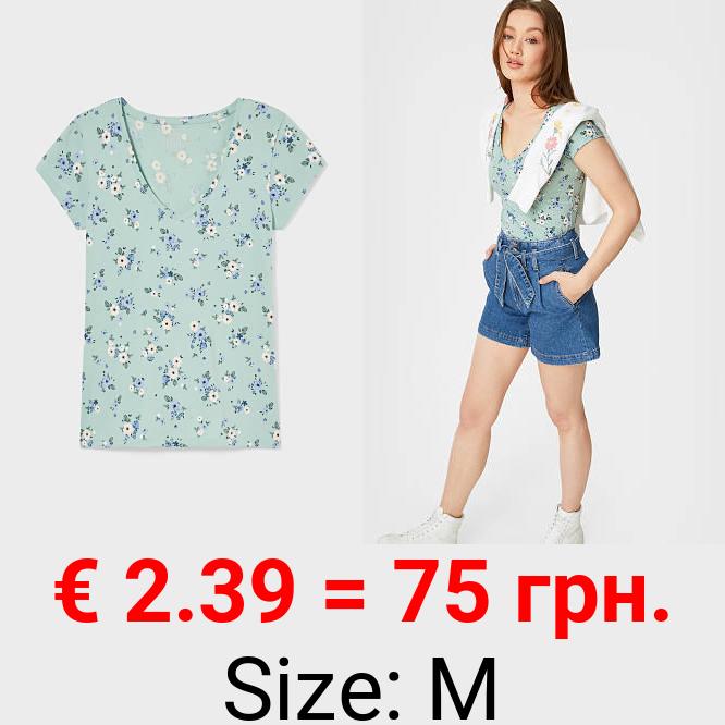 CLOCKHOUSE - T-Shirt - Bio-Baumwolle - geblümt
