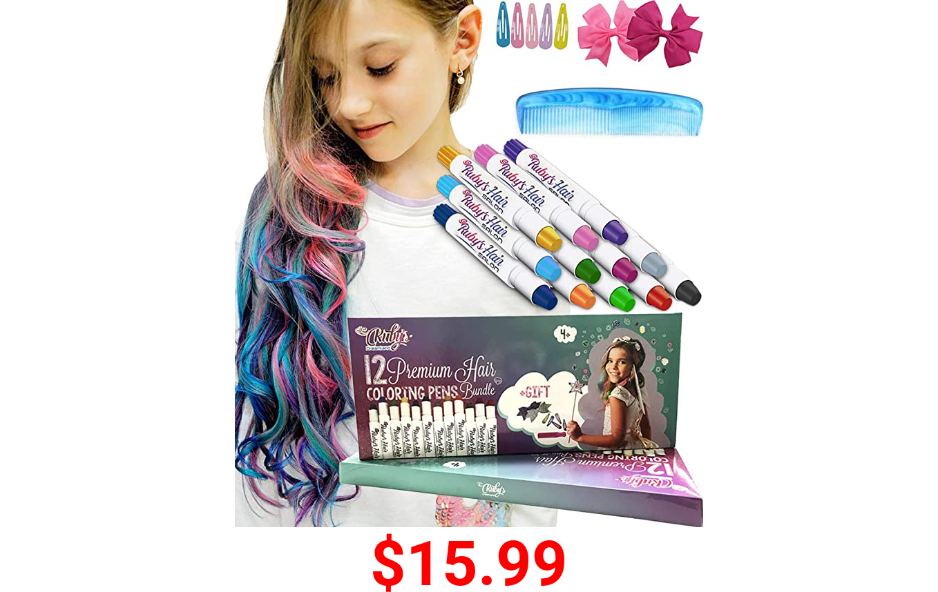 Ruby's Hair Chalk for Girls - Kids Temporary And Washable Hair Color - Cool Girl Gifts Age 4 5 6 7 8 9 10 11 12 And up.