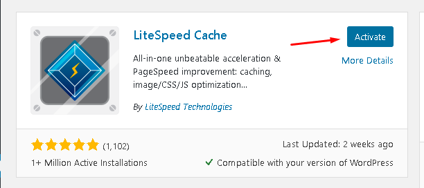 Activate litespeed cache plugin