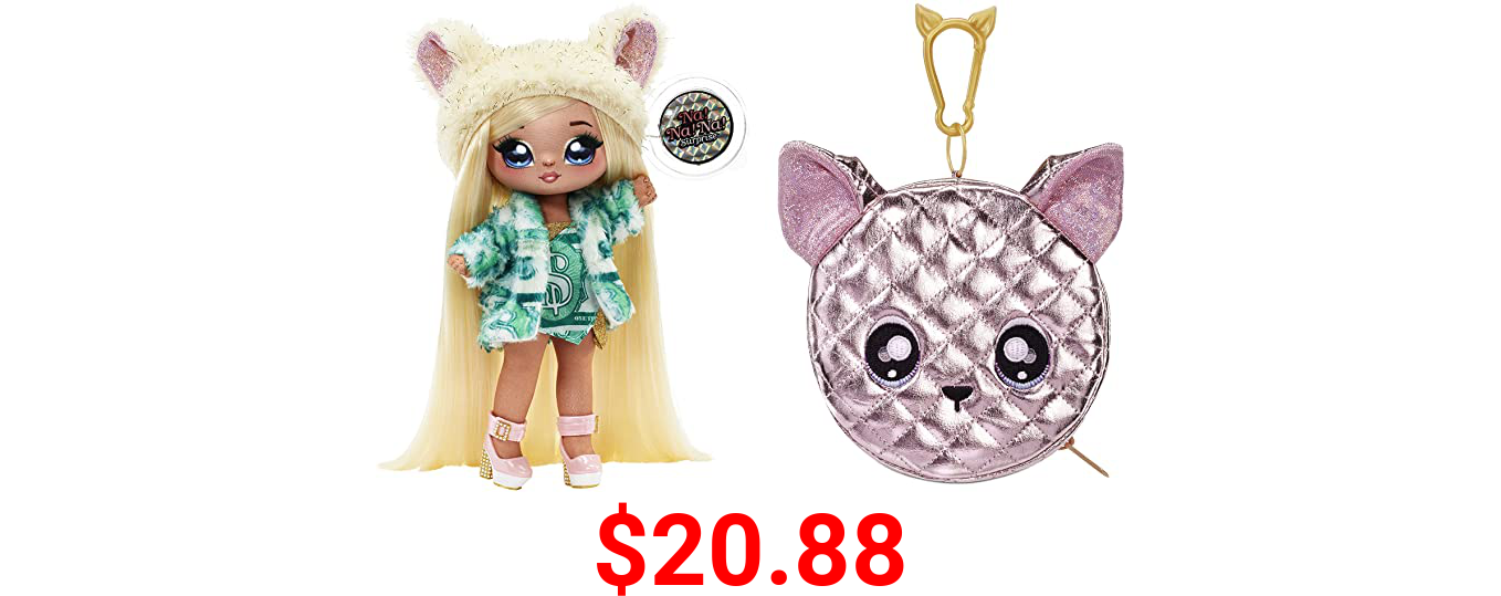 MGA Entertainment Na Na Na Surprise 2-in-1 Fashion Doll and Metallic Purse Glam Series - Victoria Grand, Blonde Doll in Green Dress and Dog Ear Hat with Chihuahua Purse, Multicolor (575382EUCALT)