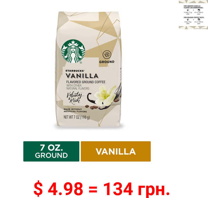 Starbucks Flavored Ground Coffee, Vanilla, 7 Oz