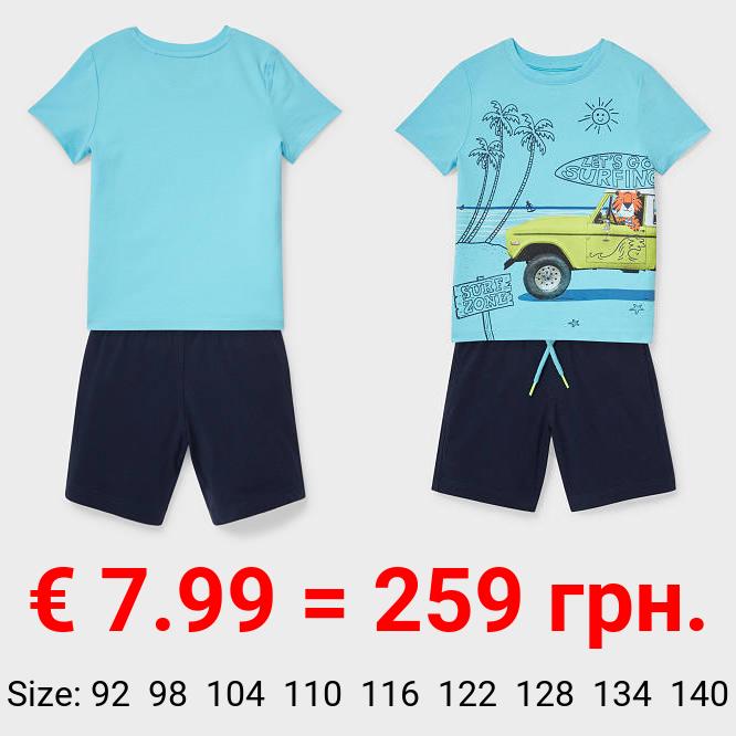 Set - Kurzarmshirt und Shorts - Bio-Baumwolle - 2 teilig