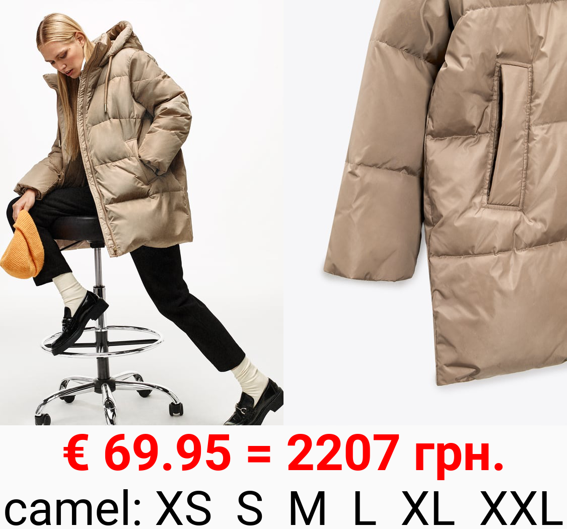 HOODED PUFFER JACKET WITH WATER AND WIND PROTECTION