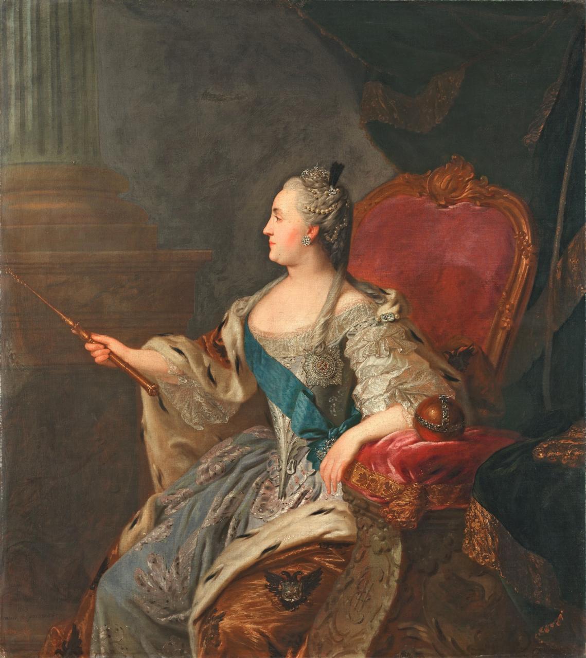Рокотов Федор Степанович (1735(?)-1808)Портрет Екатерины II. 1763157.7 х 141.7 холст, маслоТретьяковская галерея