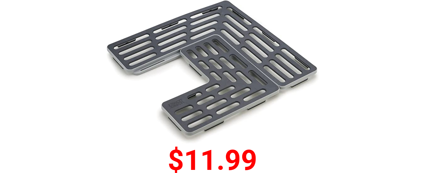 Joseph Joseph SinkSaver Adjustable Sink Protector Mat Two Grid Sections Fits Different Drain Positions Non-Slip, Gray