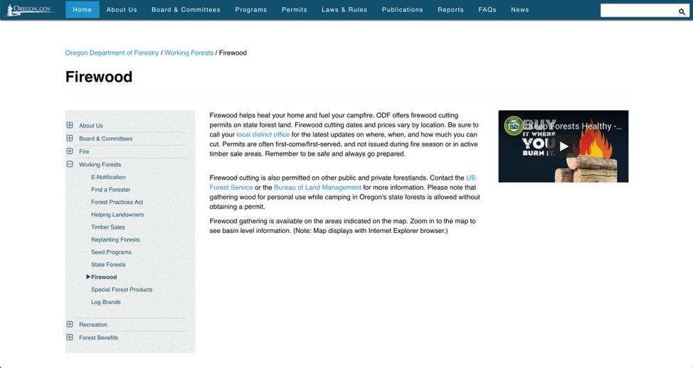 Веб-сайт правительства штата Орегон включает в себя цепочку из хлебных крошек, но не содержит ссылки на домашнюю страницу. Однако в этом случае это приемлемо, поскольку сайт также содержит ссылку «Главная» в глобальной навигации - дублировать эту ссылку на главную страницу не нужно, но ее нужно показывать в одном из двух мест.