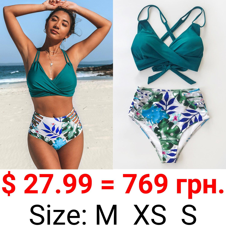 Tropical Palms Twist-Front High Waisted Bikini
