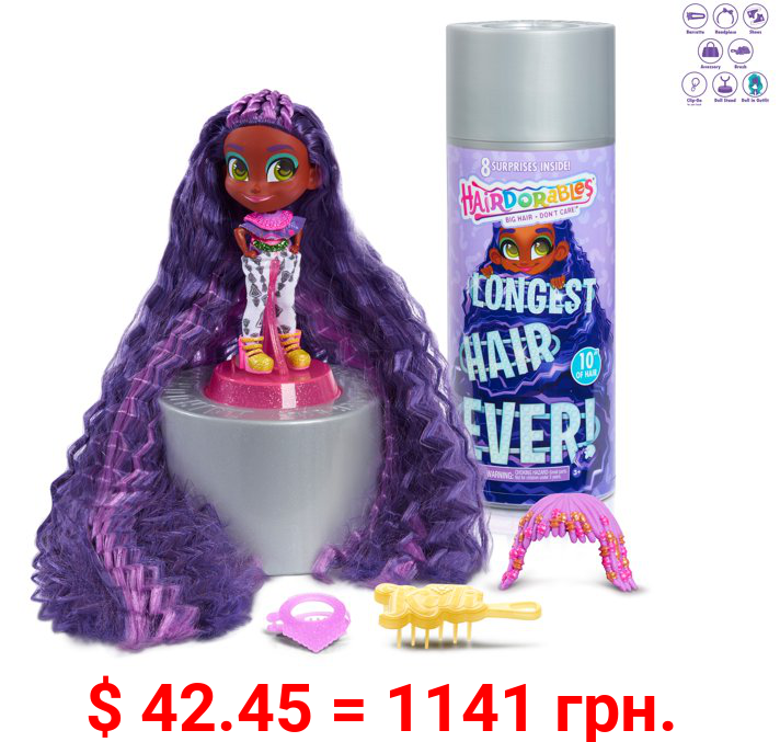 Hairdorables Longest Hair Ever! Kali Small Doll and Surprises Accessories, Preschool Ages 3 up by Just Play