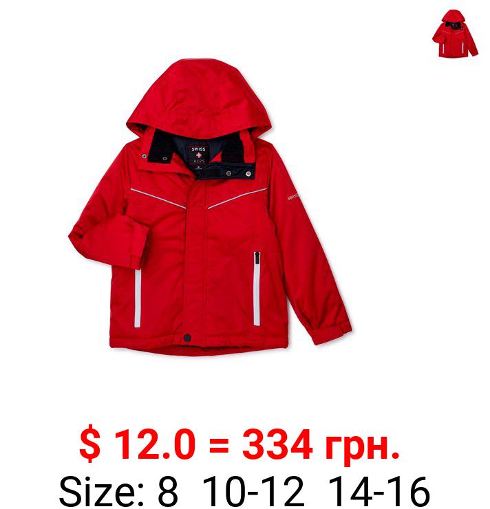 Swiss Alps Boys Ski Jacket with Reflective Zippers, Sizes 8-16