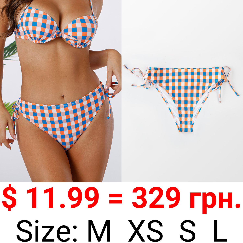 Tricolored Plaid Side Drawstring Bikini Bottom