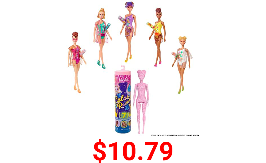 Barbie Color Reveal Doll with 7 Surprises: 4 Mystery Bags, Shoes, Towel & Accessory; Water Reveals Marble Pink Doll's Beach Look & Color Change on Hair & Accessory; Sand & Sun Series
