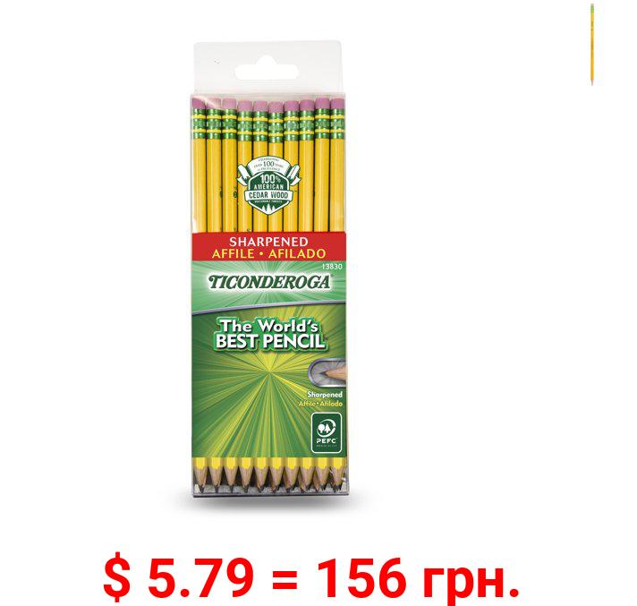 Ticonderoga Classic Yellow No 2 Pencils, Pre Sharpened, 30 Ct
