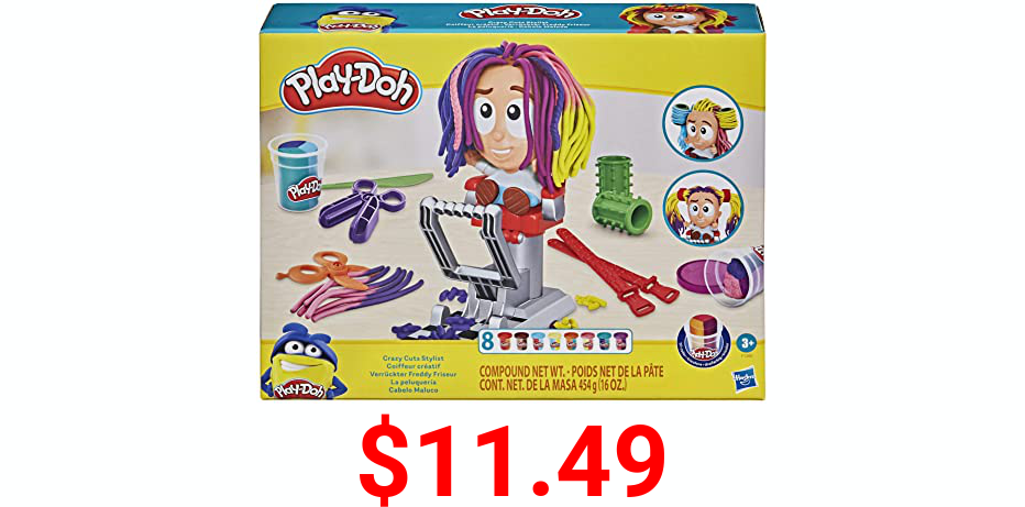 Play-Doh Crazy Cuts Stylist Hair Salon Pretend Play Toy for Kids 3 Years and Up with 8 Tri-Color Cans, 2 Ounces Each, Non-Toxic
