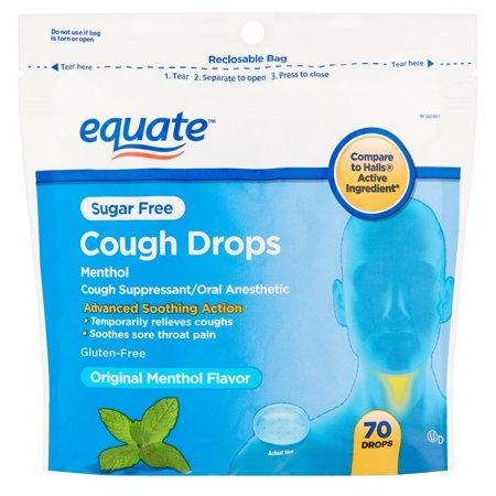 (4 Pack) Equate Sugar Free Cough Drops, Menthol, 70 Ct