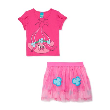 Trolls Girls 4-18 Poppy Exclusive Cosplay Top and Tutu Skirt, 2-Piece Outfit Set