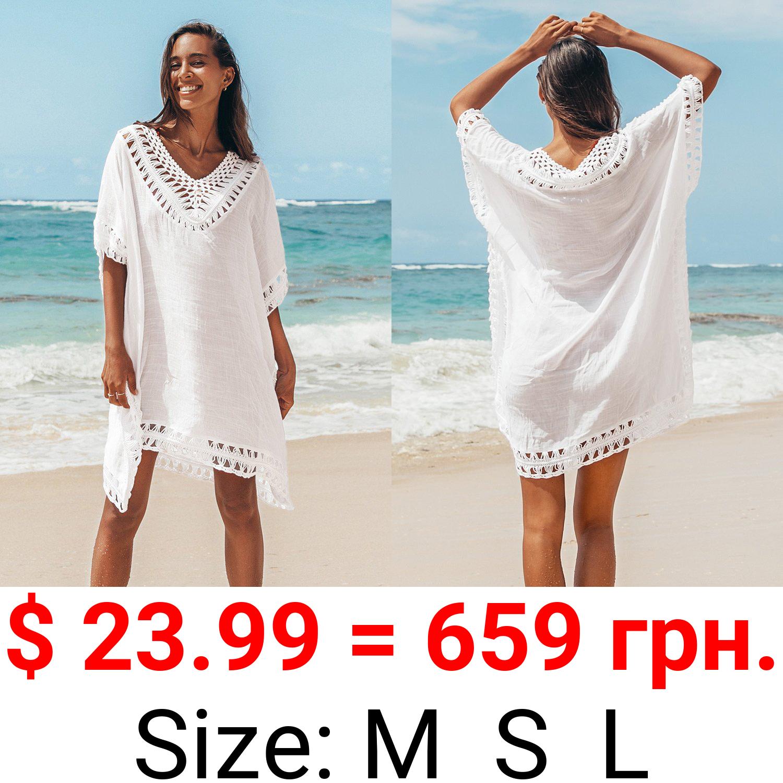 White Crochet Dolman Sleeve Cover Up