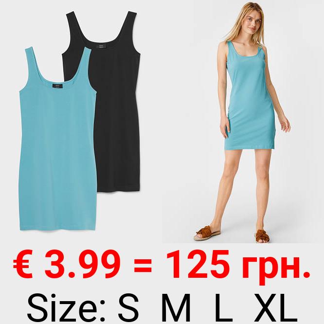 Multipack 2er - Figurbetontes Kleid - Bio-Baumwolle
