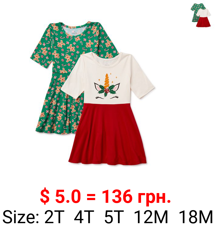 Christmas Baby & Toddler Girls Elbow Sleeve Knit Dresses, 2-Pack, Sizes 12M-5T