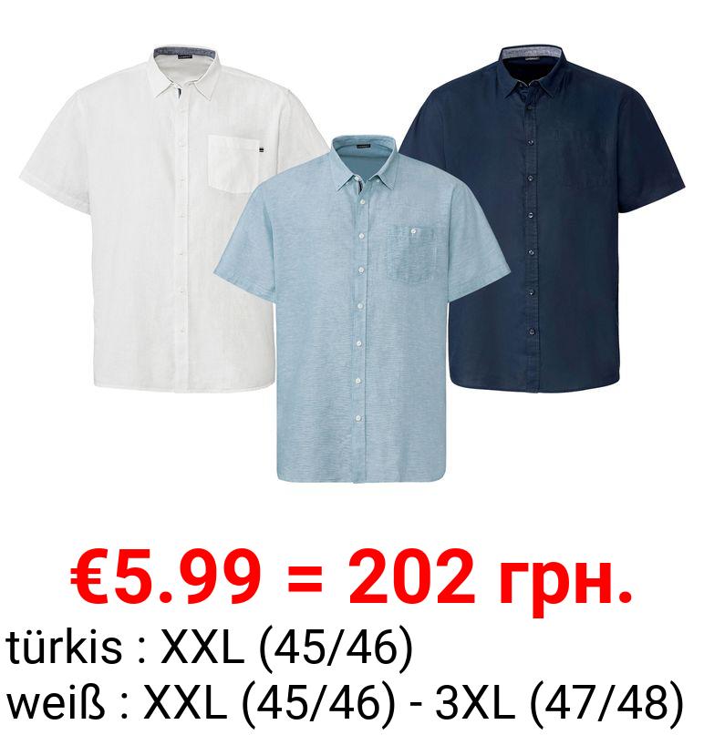 LIVERGY® Freizeithemd Herren, aufgesetzte Brusttasche, aus Leinen und Baumwolle