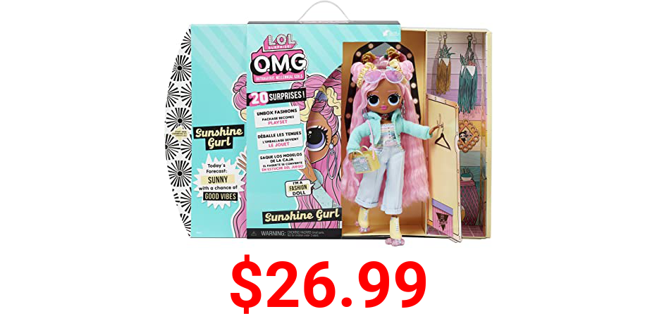 LOL Surprise OMG Sunshine Gurl Fashion Doll - Dress Up Doll Set with 20 Surprises for Girls and Kids 4+