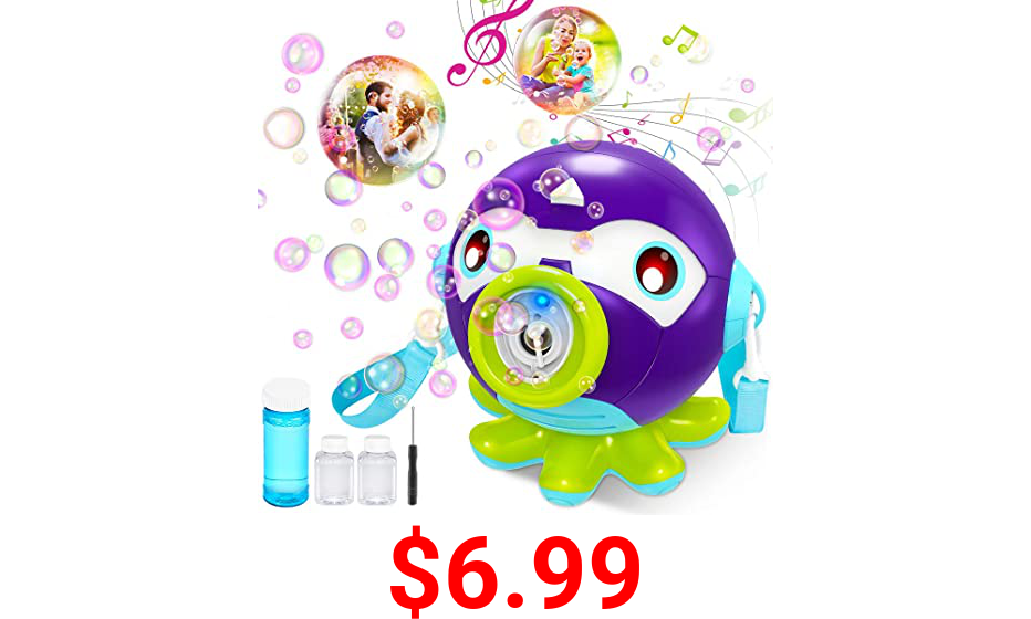 VATOS Bubble Machine Blower for Kids Toddlers - Octopus Automatic Portable Bubble Maker with Music & Light 3000+ Bubbles per Min | Bubble Toys with 160ml Bubble Solution for Party Outdoor Indoor