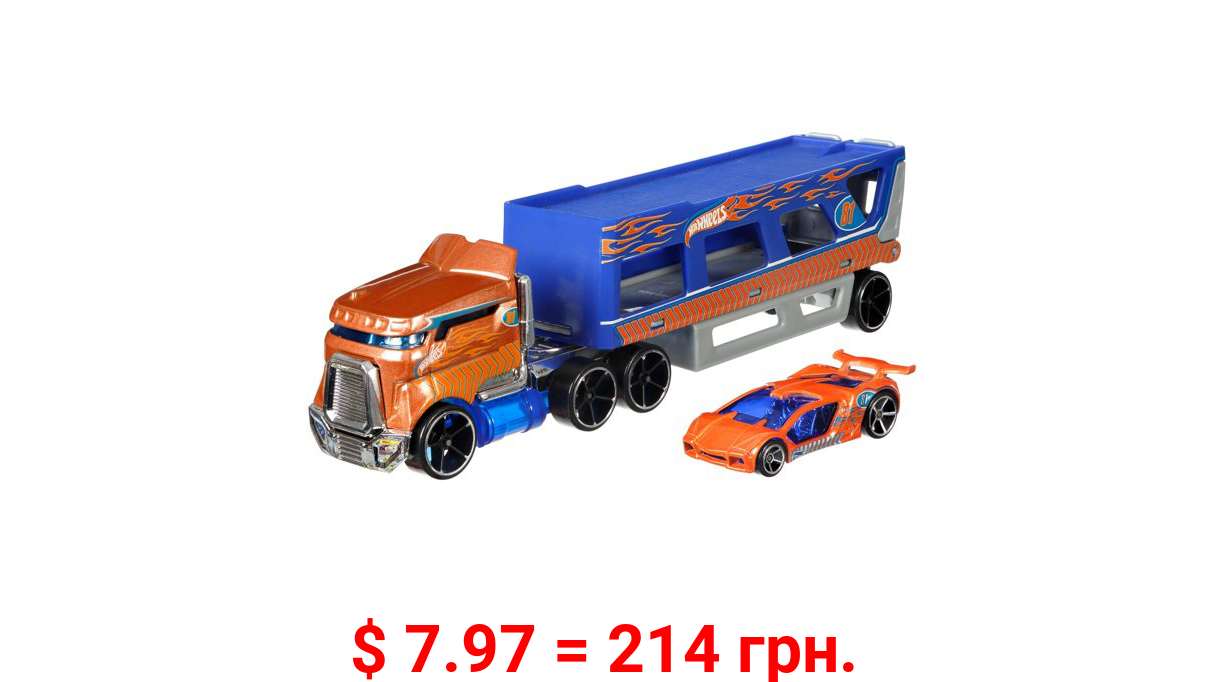 Hot Wheels Super Rigs, Transporter Vehicle With 1 1:64 Scale Car (Styles May Vary)