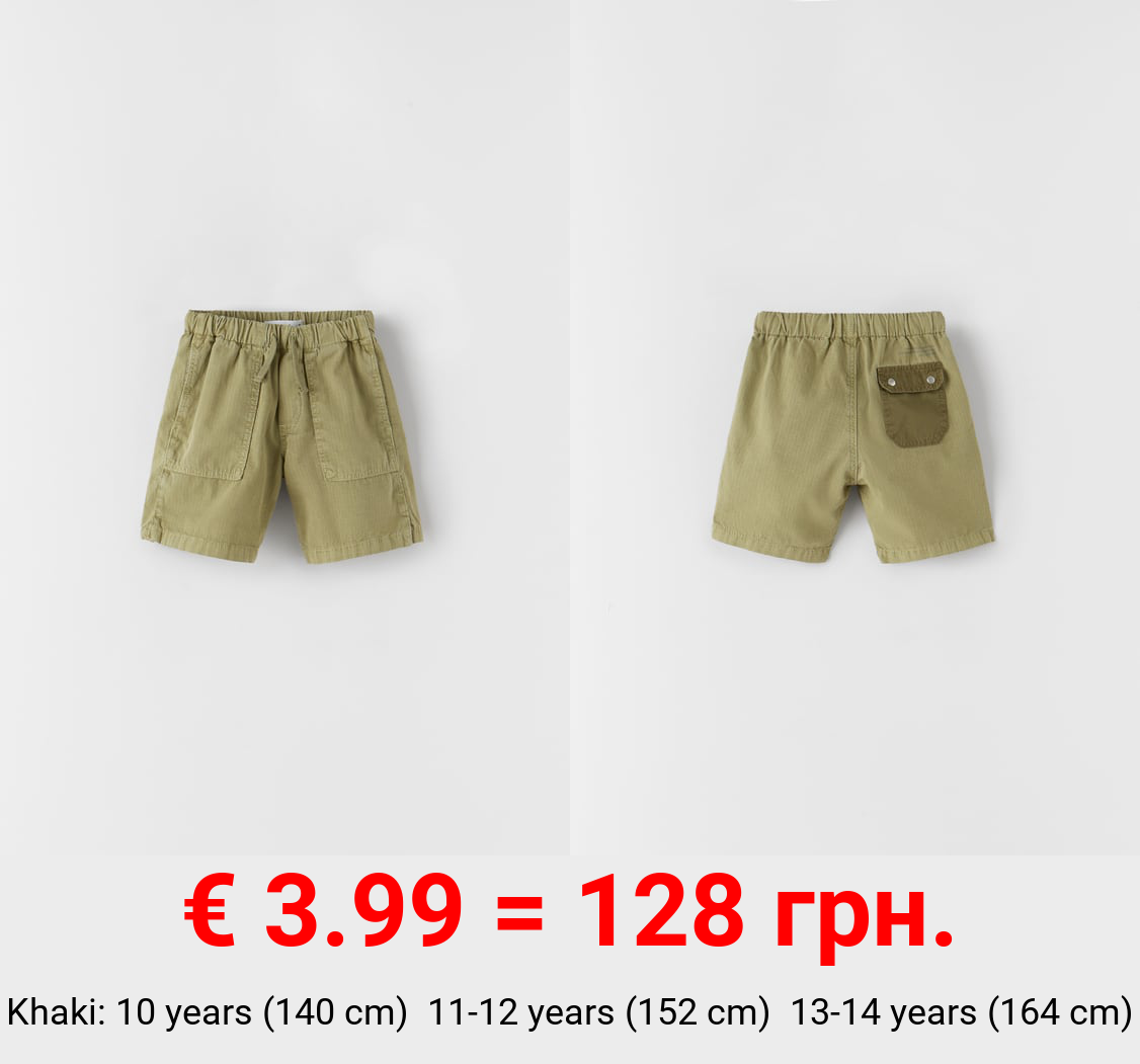GARMENT DYED BERMUDA SHORTS WITH CONTRAST POCKET