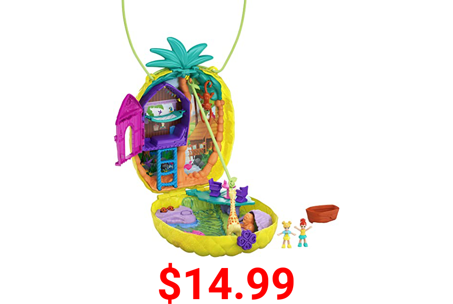 Polly Pocket Tropicool Pineapple Wearable Purse Compact with 8 Fun Features, Micro Polly and Lila Dolls, 2 Accessories and Sticker Sheet; for Ages 4 and Up