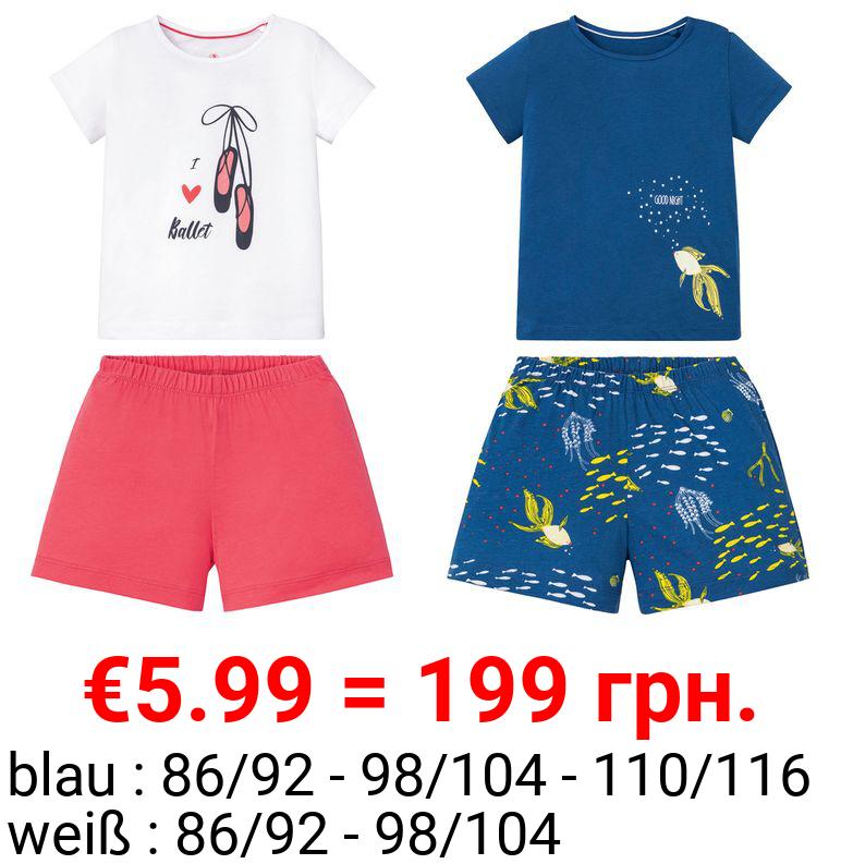LUPILU® Kleinkinder Shorty Mädchen, 2-teilig, mit Print