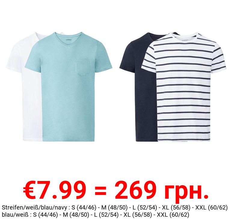 LIVERGY® T-Shirts Herren, 2 Stück, aus reiner Baumwolle