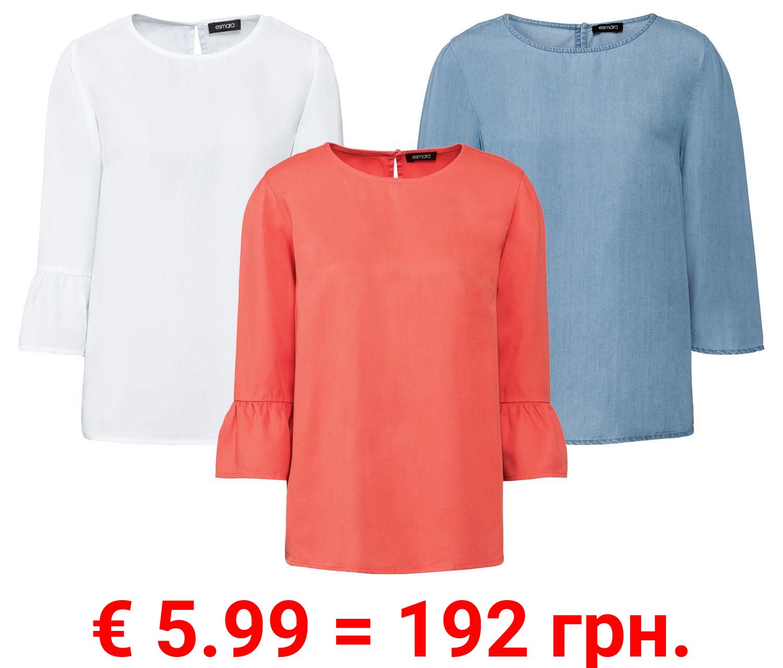 ESMARA® Bluse Damen, mit Knopf und Schlitz im Nacken, aus reinem Lyocell