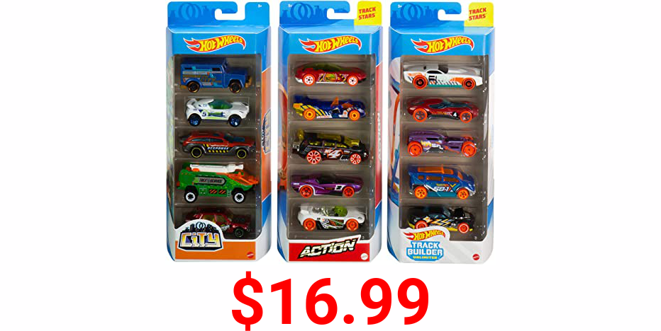 Hot Wheels Track Pack 5 Pack Bundle of 15 1:64 Scale Vehicles with 3 Themes HW Track Builder, HW City, HW Action for Collectors & Kids 3 Years Old & Up