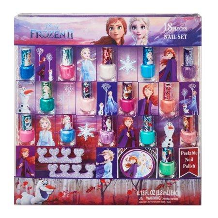 ($15 value) Disney Frozen II Nail Polish Gift Set Sparkle, Peel-Off, 18 pc