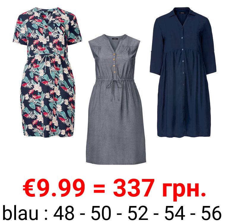 ESMARA® Kleid Damen, mit seitlichen Eingrifftaschen, aus Viskose und Leinen