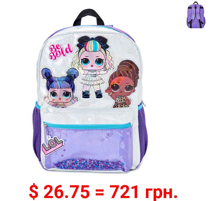 L.O.L. Surprise! Girls' Be Bold Glitter Purple Backpack