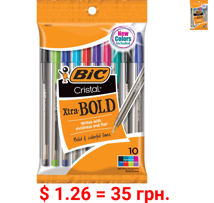BIC Cristal Ballpoint Stick Pens, Bold Point, Assorted Ink, 10 Pack