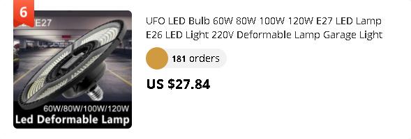 UFO LED Bulb 60W 80W 100W 120W E27 LED Lamp E26 LED Light 220V Deformable Lamp Garage Light 110V Waterproof Warehouse Lighting