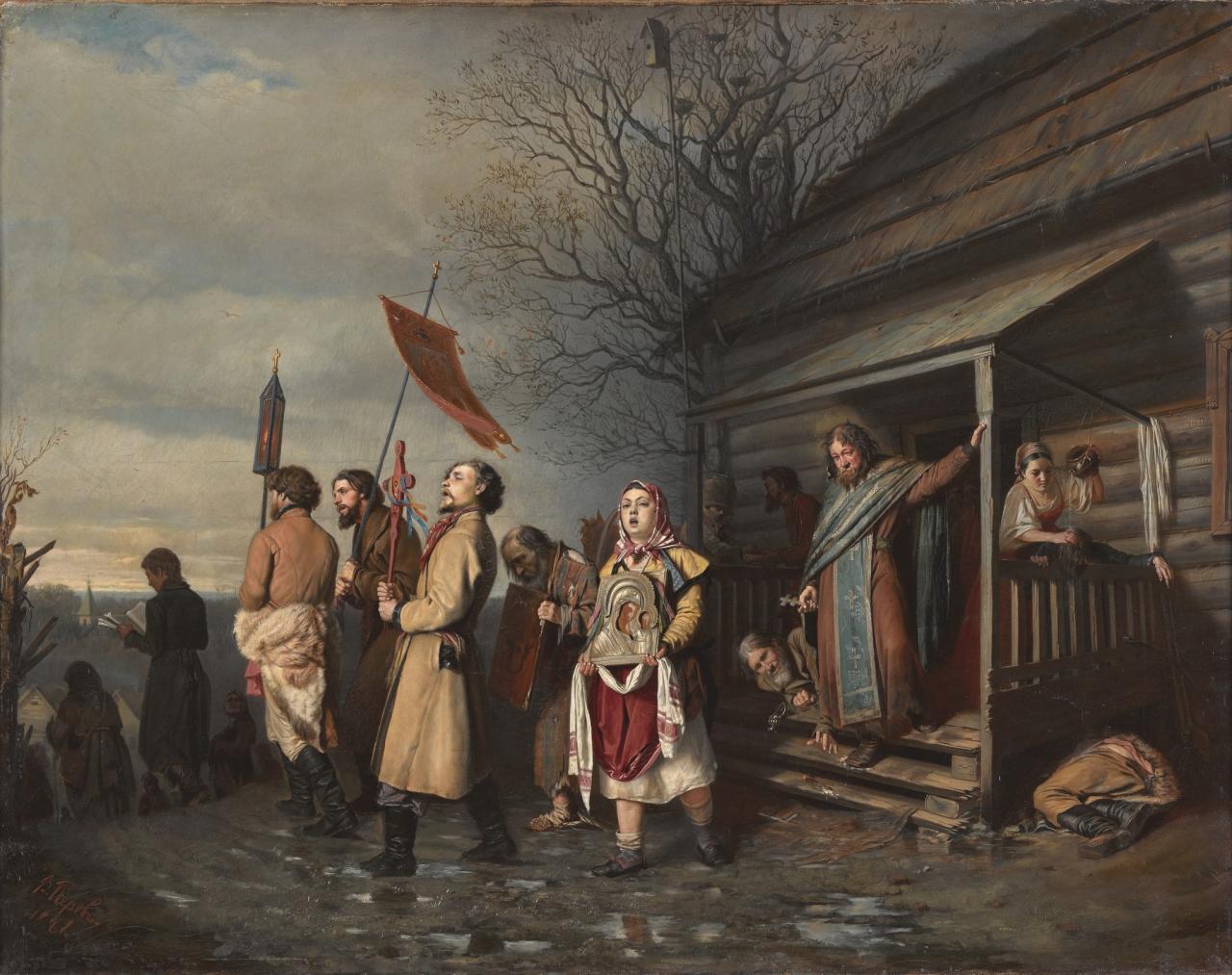 Перов Василий Григорьевич (1833-1882)Сельский крестный ход на Пасхе71.5 х 89 холст, масло Третьяковская галерея